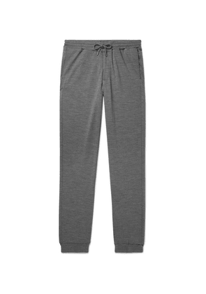 Sease - Summer Movement Slim-fit Tapered Mélange Virgin Wool Sweatpants - Gray