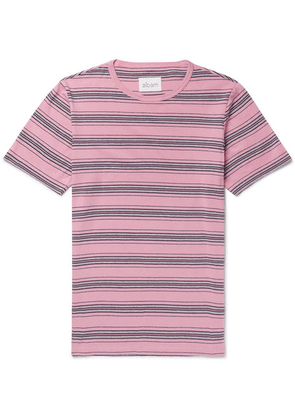 Albam - Striped Cotton-jersey T-shirt - Pink