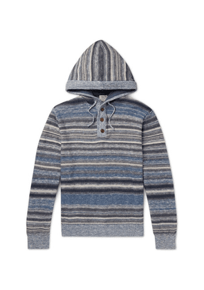 Faherty - Baja Slim-fit Striped Knitted Hoodie - Blue