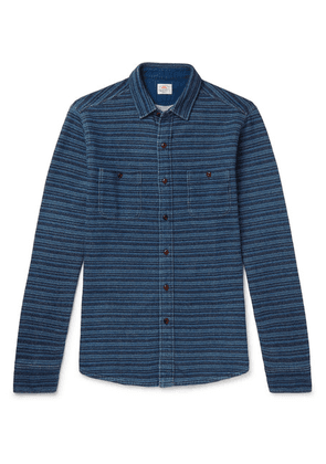 Faherty - Striped Loopback Cotton-jersey Shirt - Blue