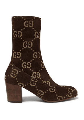 Gucci - Leather-trimmed Logo-jacquard Boots - Brown