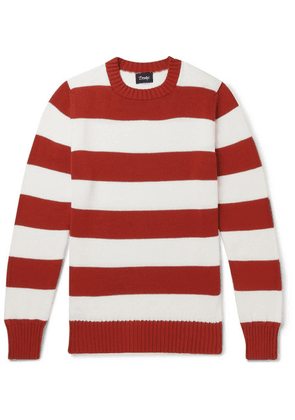 Drake's - Wilcot Striped Cotton Sweater - Red