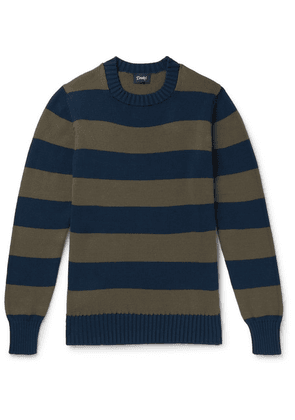 Drake's - Wilcot Slim-fit Striped Cotton Sweater - Blue