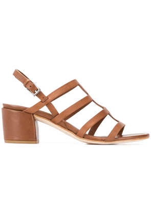 Del Carlo block heel cage sandals - Brown
