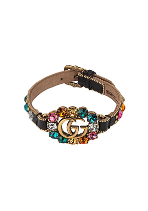 Gucci Leather bracelet with Double G - Black