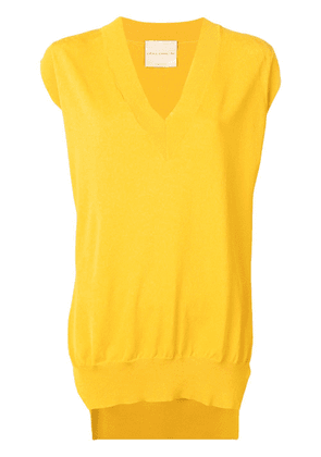 Erika Cavallini side-slits vest - Yellow