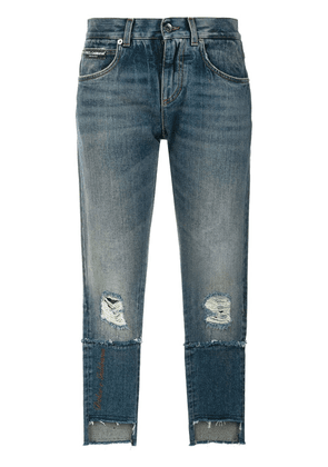 Dolce & Gabbana deconstructed logo patch jeans - Blue