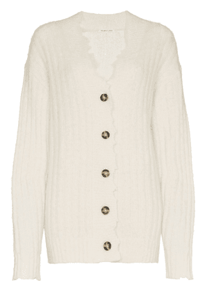 Helmut Lang distressed trim knitted cardigan - White
