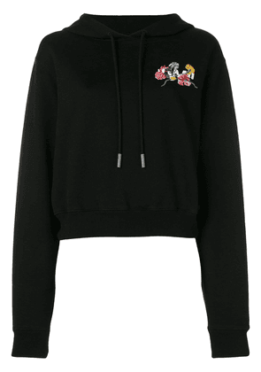 Off-White floral embroidered hoodie - Black
