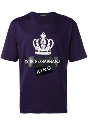 Dolce & Gabbana crown logo print T-shirt - Purple