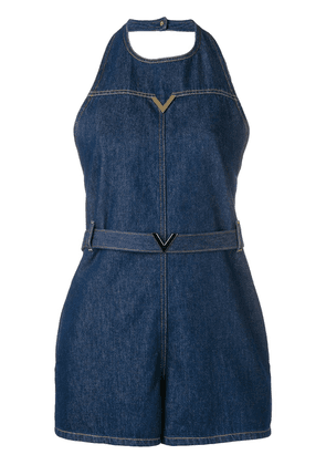 Valentino V hardware denim playsuit - Blue