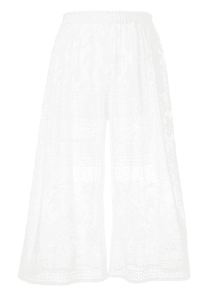 Dolce & Gabbana cropped lace trousers - White
