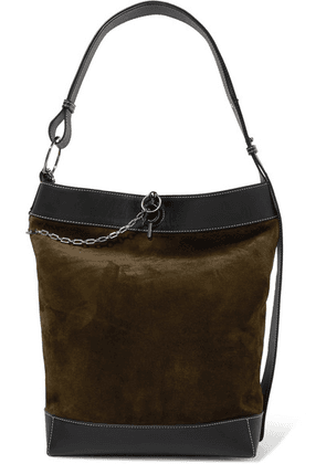 JW Anderson - Lock Leather-trimmed Suede Tote - Dark green