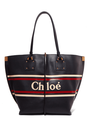 Chloé - Vick Printed Leather Tote - Midnight blue