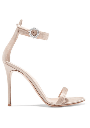 Gianvito Rossi - Portofino 100 Crystal-embellished Satin Sandals - Platinum
