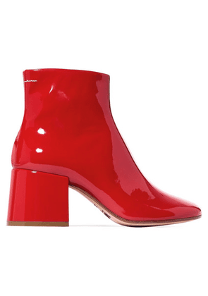 MM6 Maison Margiela - Patent-leather Ankle Boots - Red