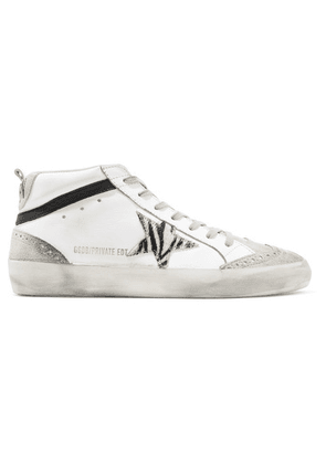Golden Goose Deluxe Brand - Mid Star Distressed Leather, Suede And Zebra-print Pony Hair Sneakers - White