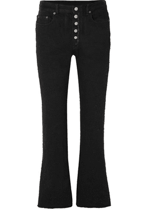 MM6 Maison Margiela - Cropped Distressed High-rise Flared Jeans - Black