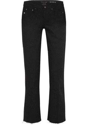 SAINT LAURENT - Cropped Frayed Low-rise Flared Jeans - Black