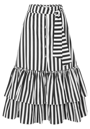 Caroline Constas - Ruffled Striped Cotton-poplin Midi Skirt - Black
