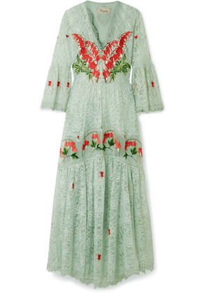 Temperley London - Potion Embroidered Lace And Organza Dress - Sky blue
