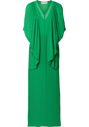 By Malene Birger - Middanna Draped Plissé-chiffon Maxi Dress - Green