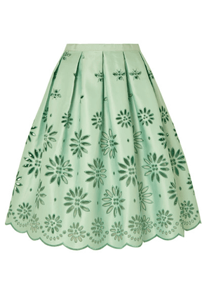 J.Crew - Embroidered Duchesse-satin Midi Skirt - Mint