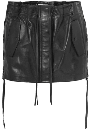 SAINT LAURENT - Lace-up Leather Mini Skirt - Black