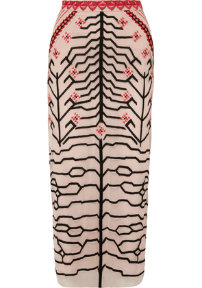Temperley London - Canopy Embroidered Tulle Pencil Skirt - Blush