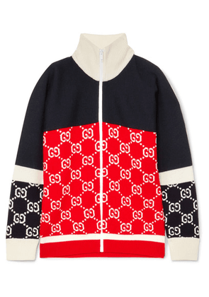 Gucci - Color-block Intarsia Wool Cardigan - Navy
