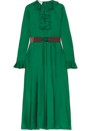 Gucci - Belted Ruffle-trimmed Pleated Silk-twill Dress - Green
