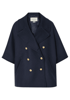 Gucci - Cape-effect Double-breasted Wool-blend Felt Coat - Navy