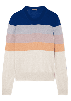 Bottega Veneta - Striped Metallic Knitted Sweater - Blue