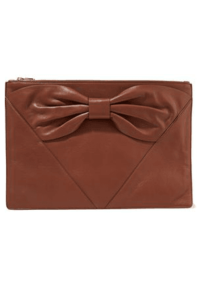 Red(v) Woman Bow-detailed Leather Clutch Brown Size -