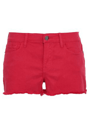 Frame Woman Frayed Denim Shorts Red Size 26