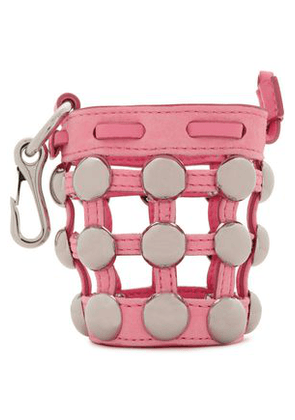 Alexander Wang Woman Studded Leather And Suede Keychain Baby Pink Size -