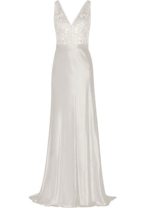 Catherine Deane Woman Olivia Embroidered Satin Gown Silver Size 16
