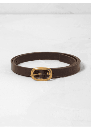 Leather Belt w Gold Buckle