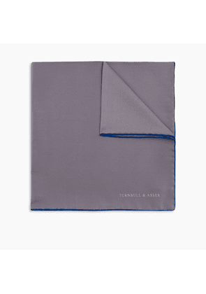 Grey and Blue Piped Silk Pocket Square