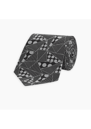 Black and White Hall of Spots Silk Tie