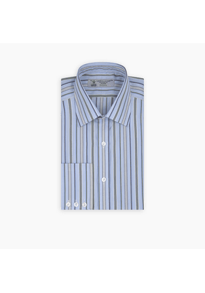 Blue and Green Multi Bold Stripe Cotton Shirt with Classic T & A.