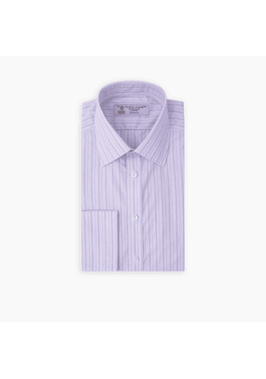 Purple and Lilac Top Stripe Cotton Shirt with T & A Collar and.