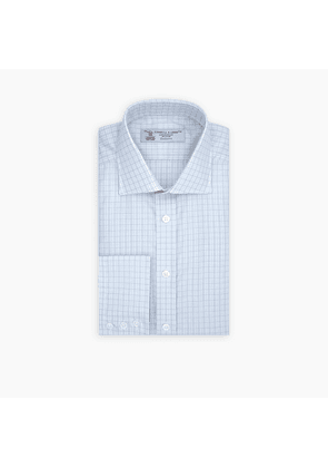 Grey and White Rectangle Check Shirt with Regent Collar and Button.