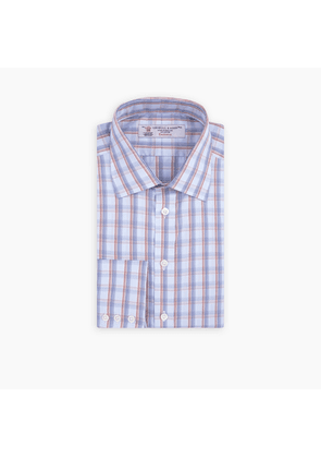 Orange and Navy Two Tone Check Shirt with T & A Collar and Button Cuffs