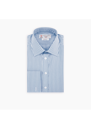 Two-Fold 120 Blue and White Stripe Cotton Shirt with Classic T & A.