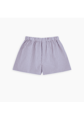 Red and Blue Brush Stripe Sea Island Quality Cotton Boxer Shorts