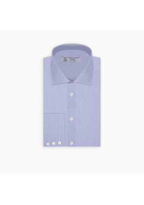 Blue End-On-End Cotton Shirt with Regent Collar and Button Cuffs