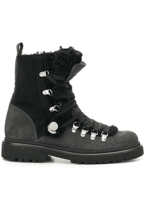 Moncler glitter shearling lined hiking boots - Black