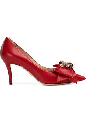 Gucci Leather mid-heel pump with bow - Red
