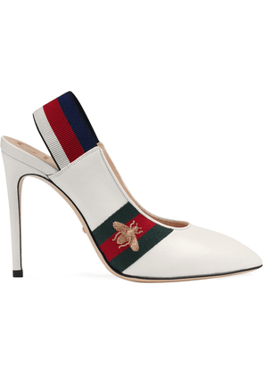 Gucci Leather Web slingback pump - White